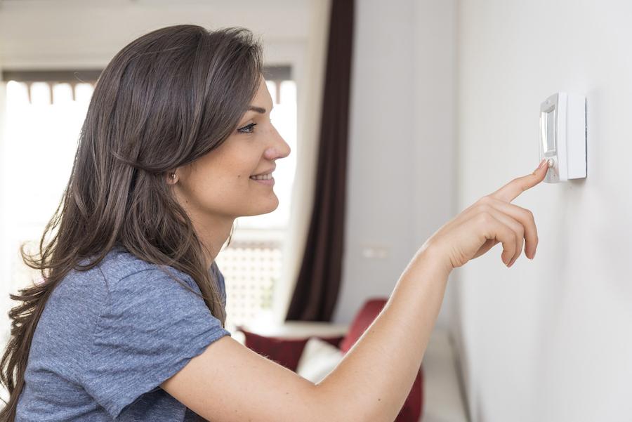 Woman Programming Thermostat